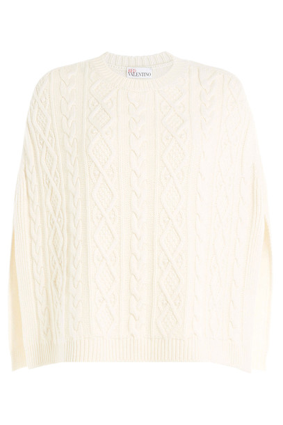 RED VALENTINO cape wool white top
