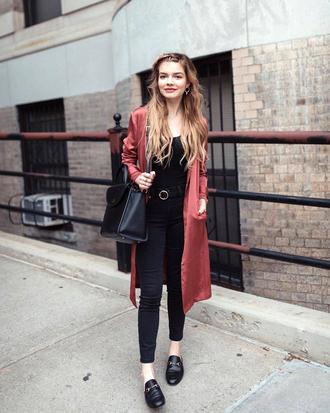 coat tumblr duster coat pink coat top denim jeans black jeans shoes loafers black loafers bag black bag
