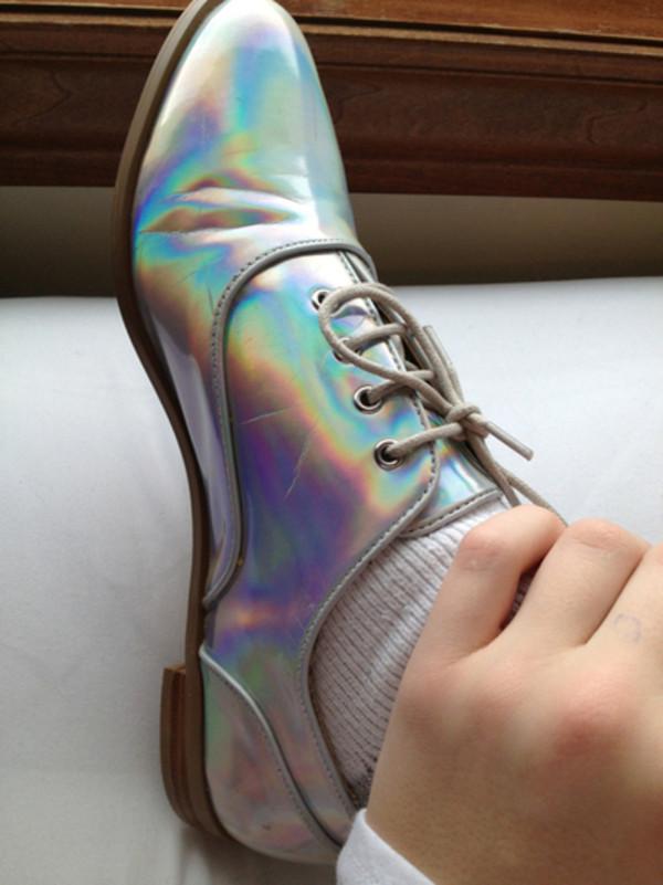 shoes oxford flat s hologram holographic transparent