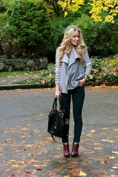shoes,vest,booties,bag,sweater,jeans,scarf,shirt,outfit,fall outfits,stripes,cardigan,jacket,grey,gray vest,winter outfits,boots,coat,cranberry,where can i get this vest?