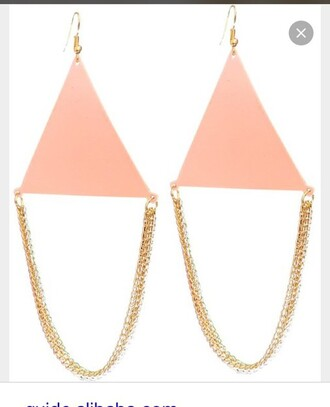 jewels triangle earrings pink salmon salmon color earrings salmon earrings light pink earrings pink earrings gold earrings golden earrings earrings gold triangle earrings