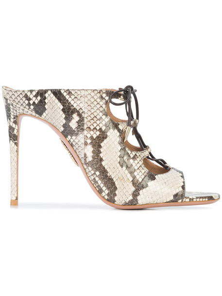 snake women snake skin mules leather shoes