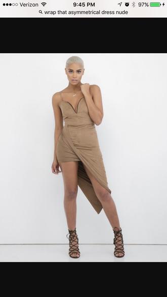 dress asymmetrical wrap dress draped nude dress taupe plunge neckline deep v high low dress