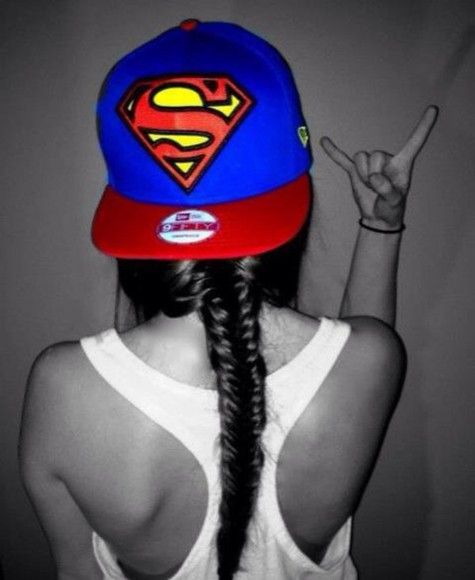 hat cap superman superhero super hero red blue yellow swag