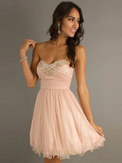 tulle dress,pink dress,short party dresses,short prom dress,light pink,dress,strapless,flowwy