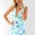Blue Cocktail Dress - Blue Tropical Print Bodycon Dress | UsTrendy