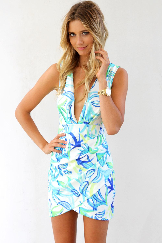 Cocktail Dress - Blue Tropical Print Bodycon Dress | UsTrendy