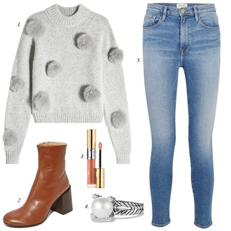 dailystylefinds blogger sweater shoes jewels jeans make-up fall outfits grey sweater ankle boots skinny jeans