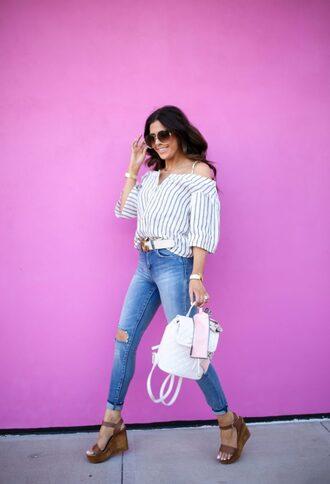 shoes white bag jeans denim bag backpack sandals platform sandals off the shoulder top sunglasses