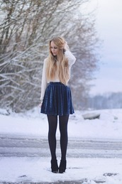 skirt,long sleeves,white,navy skirt,tights,booties,black,navy blue skirt,opaque tights