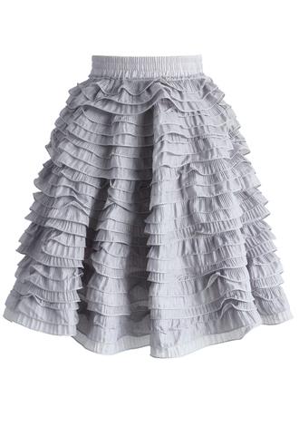 skirt tiered of cuteness skirt in grey chicwish mini skirt grey skirt summer skirt