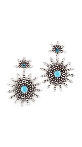 earrings silver turquoise jewels