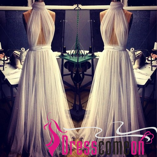Sexy high neck sleeveless backless tulle white sequins long evening dresses · dresscomeon · online store powered by storenvy