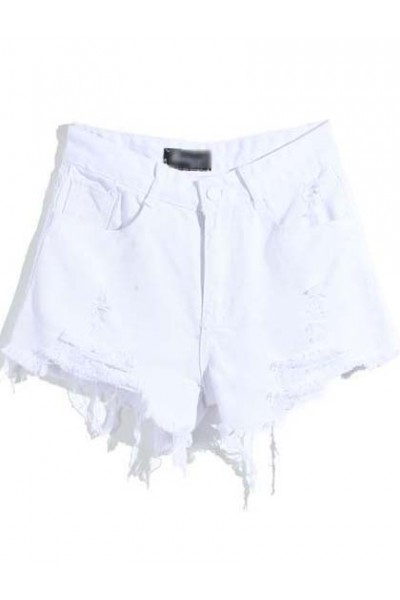 KCLOTH White Pockets Ripped Zipper Denim Shorts