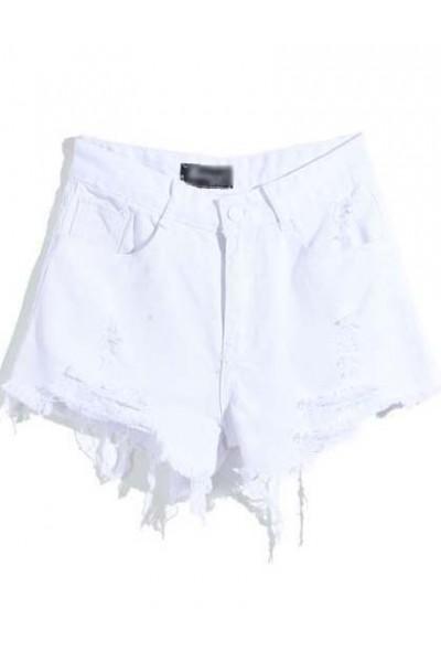 KCLOTH White Pockets Ripped Zipper Denim Shorts