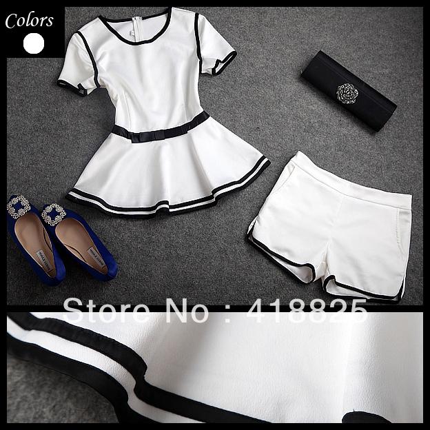 2013 Frühjahr designer sommer neue damen kleidung gesetzt weiß rüsche taille schwarz Bund oben shorts gesetzt