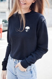 sweater,style,fashion,black sweater,black dress,alien,love,t-shirt,brandy melville,patch,black,jumper,sweatshirt,hoodie,top,sold out,logo,graphic tee,pullover,shirt,colorful,girl,women