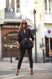 sunglasses,gucci,tumblr,cat eye,blazer,belt,gucci belt,denim,jeans,black jeans,high heels,heels