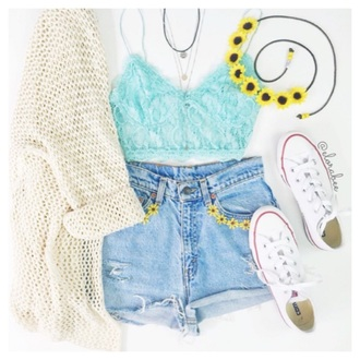cardigan shoes creamy white color long cardigan top turquoise laced shorts hair accessory jewels crop tops mint outfit fashion denim cute flowers converse sweater shirt