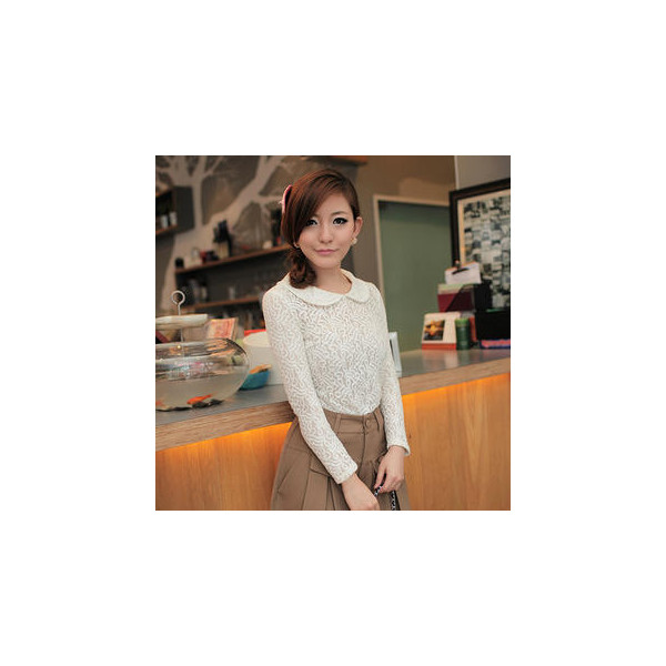 Peter-Pan-Collar Lace Top - JK2 - Polyvore