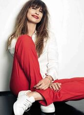 pants,caroline de maigret,model,fashionista,red pants,shirt,white shirt,sneakers,white sneakers,office outfits,spring outfits,red lipstick