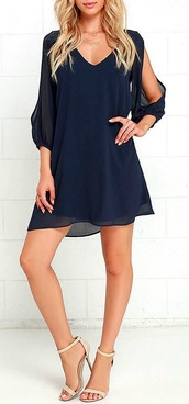 dress,navy dress,mini dress,long sleeve dress