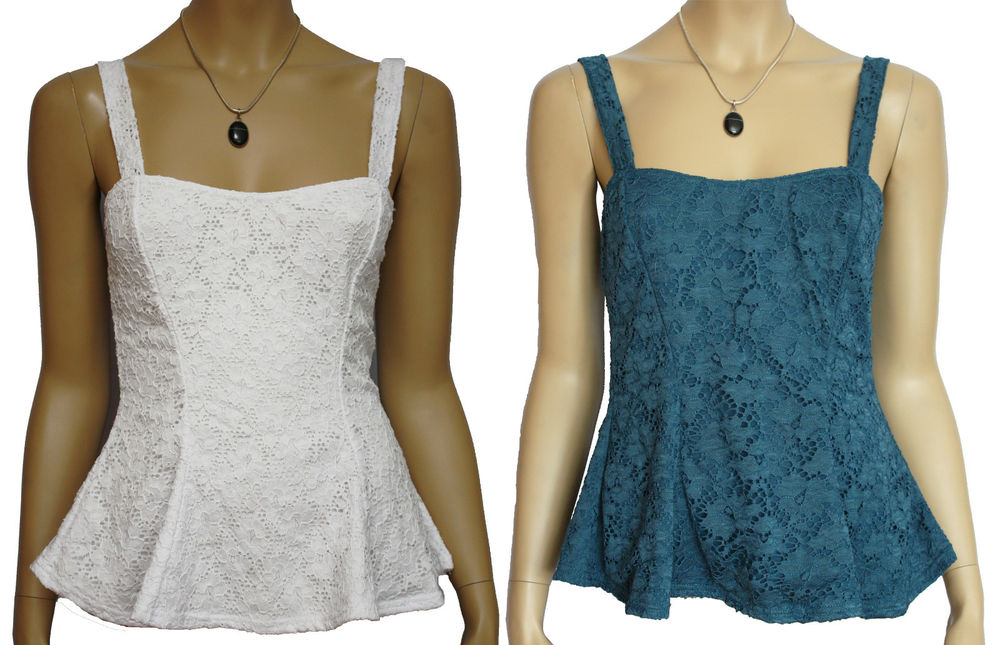 Gorgeous Strappy Lace Peplum Top. RRP: £20. 2 Colours. Sizes 8-16