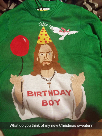 green sweater birthday sweater