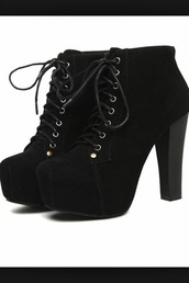 shoes,heels,boots,black,chunky heels,lace up,booties,ankleboots,black heel