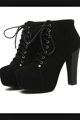 shoes heels boots black chunky heels lace up booties