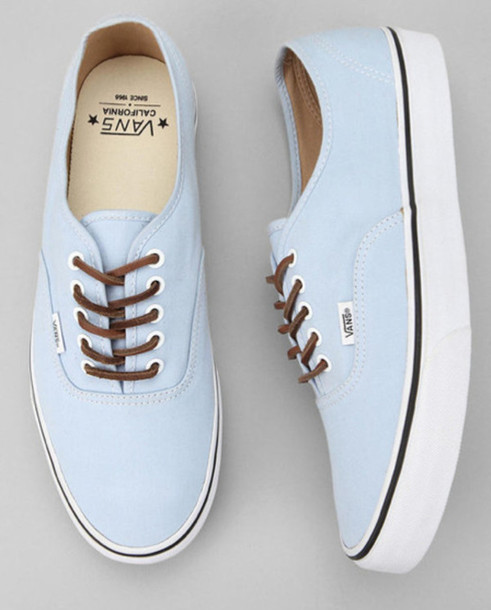8ba22dd069 shoes vans blue brushed twill california authentic sky leather lace indie  hipster shows brown pale baby