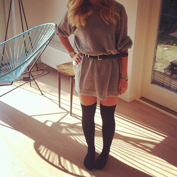 overknee winter sweater winter dress winter outfits overkneesocks knee high socks tights