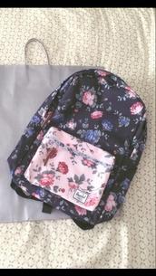 bag,backpack,herschel supply co.,floral,floral backpack