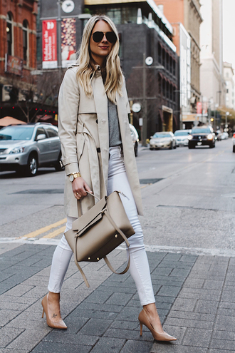 fashionjackson blogger sweater shoes jewels coat tumblr camel camel coat trench coat denim jeans white jeans skinny jeans pumps pointed toe pumps bag nude bag sunglasses