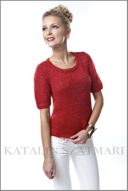sweater red sweater mohair sweater fitted sleeved sweater women's sweater short sleeved sweater scoop-neck sweater fuzzy sweater angora sweater cashmere jumper