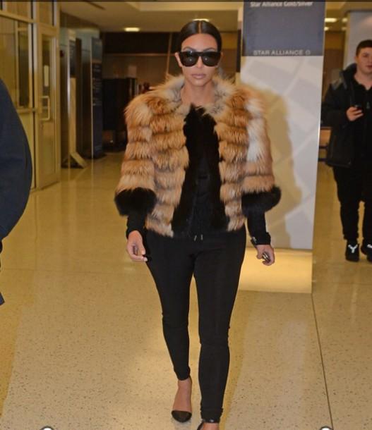 kim kardashian flats fur coat