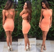 dress,peach,pretty,sweet,sexy,mini,peach dress,sexy dress,beautiful,oh dear god please
