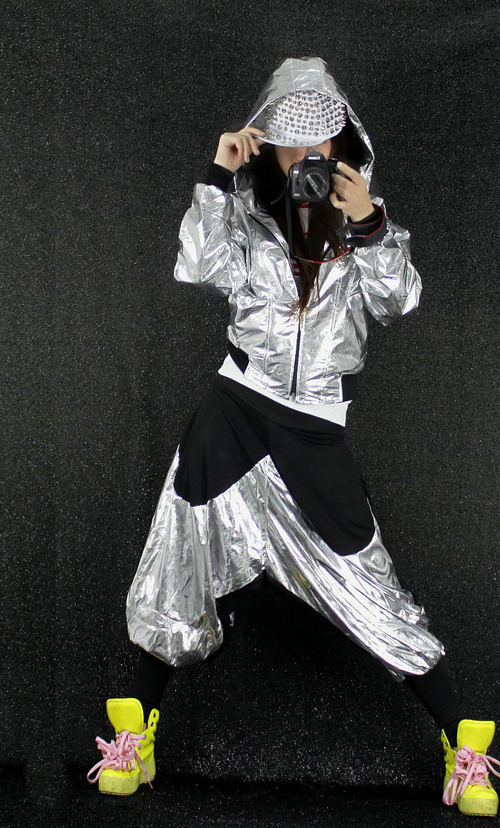 Taobao Jazz dance costumes suit HIPHOP hip-hop hip-hop hooded jacket shiny metallic body color men and women 0390yqptplsmooo from English Agent:BuyChina.com