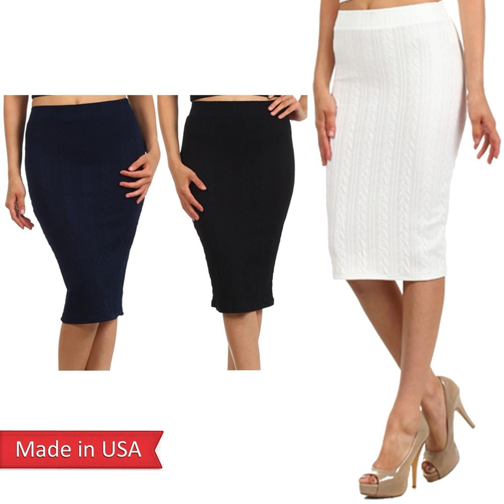New Women Cable Knit Pattern Solid Color High Waist Fitted Pencil Midi Skirt USA