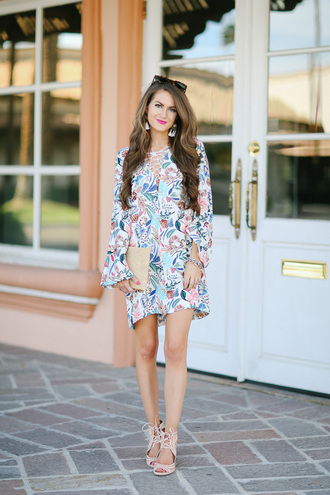 southern curls and pearls blogger sunglasses jewels make-up nail polish long sleeve dress flowers colorful nude heels clutch summer dress summer outfits spring outfits streetstyle floral dress