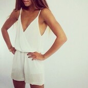 dress,jumpsuit,white,jumper,white lace dress,shorts,summer,romper,shirt,blouse,jump in,fashion,in,beautiful,white dress,tank top,black,amazing,where can i buy,cream,cami,chiffon,model,shop,shoes,hot,summer dress,summer outfits,all white everything,classy,instagram,cute,white romper,wrap front romper,v neck romper,white v neck romper,v neck white playsuit