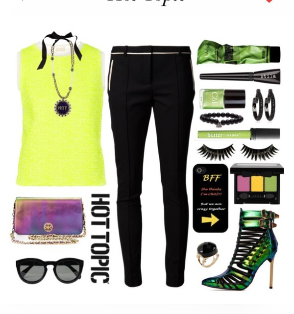 hot topic make-up neon fashion outfit yellow top bff