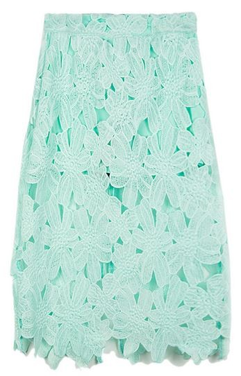 Pastel Green Crochet Floral Lace Midi Skirt
