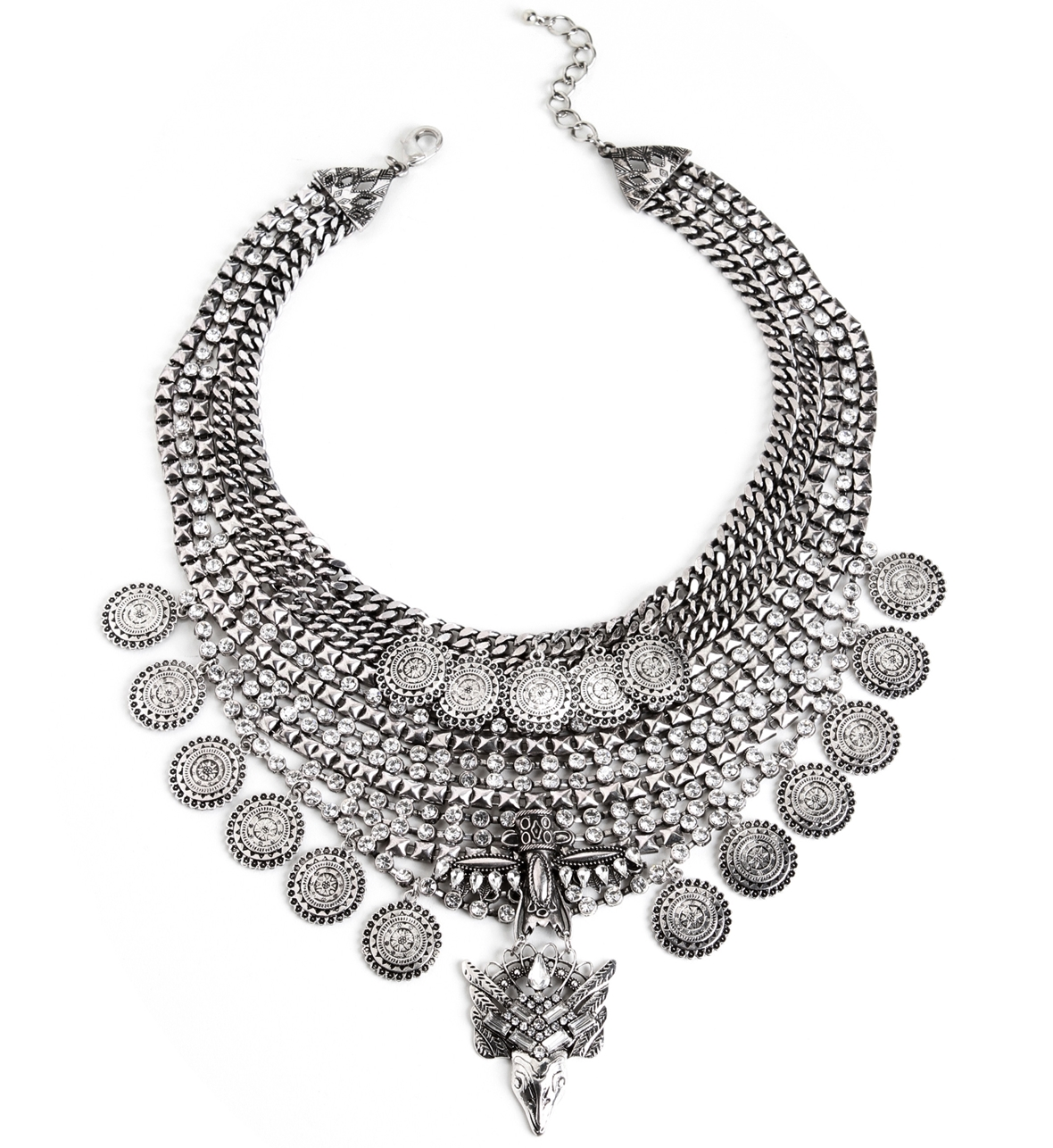 Silver Big Shot Statement Necklace