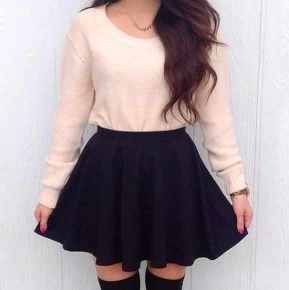 cute skirt sweater black light pink black skirt jewels girly old pink pullover old school necklace gold underwear socks mini skirt straight skater skirt pink sweater blouse summer outfits tumblr clothes outfit oversized sweater white long sleeve beige long sleeves fall outfits 2014