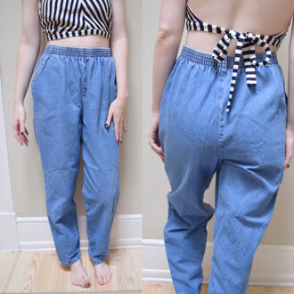 jeans elastic mom jeans high waisted jeans