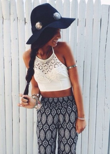 top and the pants blouse white crop top lace boho indie pants print pattern boho hat shirt leggings