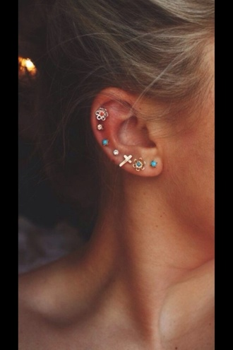 jewels earrings stud colorful ear piercings tumblr jewelry hair
