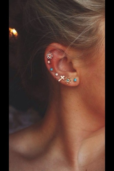 tumblr stud jewels earrings colorful ear piercings jewellery hair