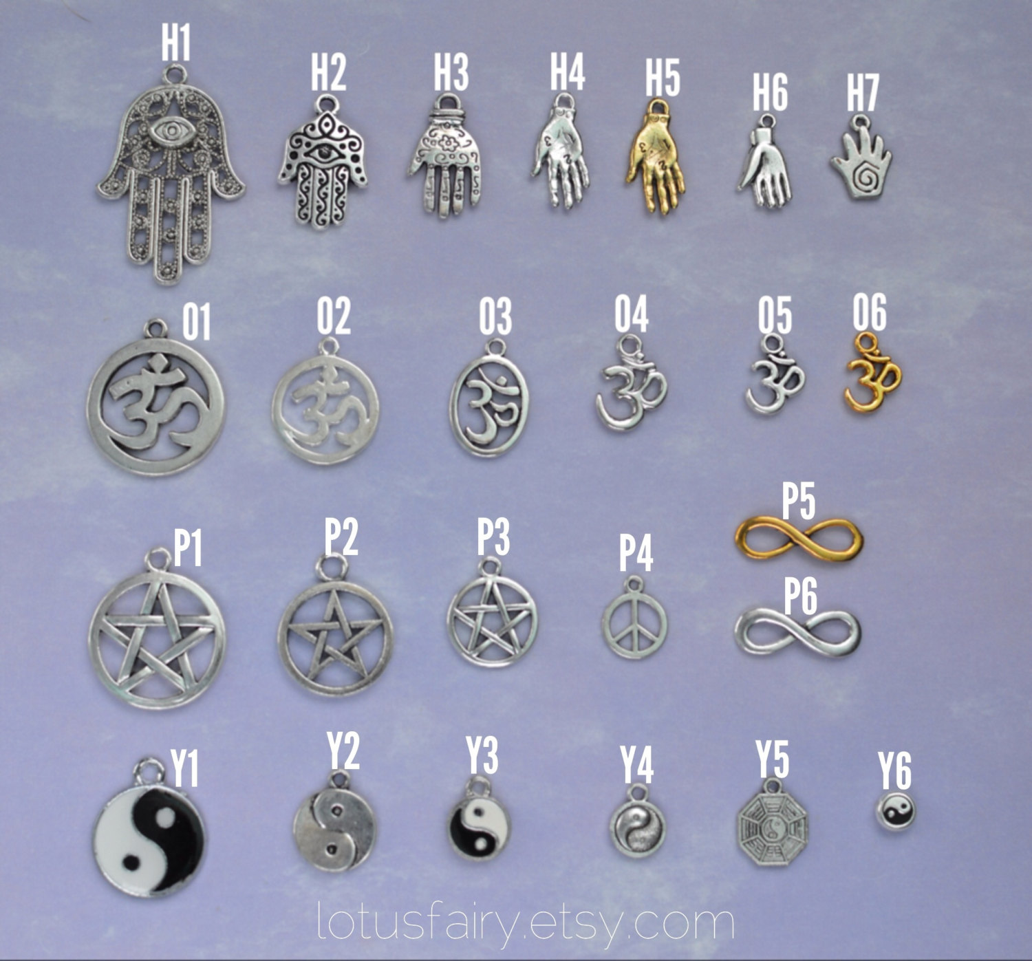 Symbol charms: Design Your Own, Om, Yin Yang, Pentacle, Egyptian, Ankh,Hamsa,